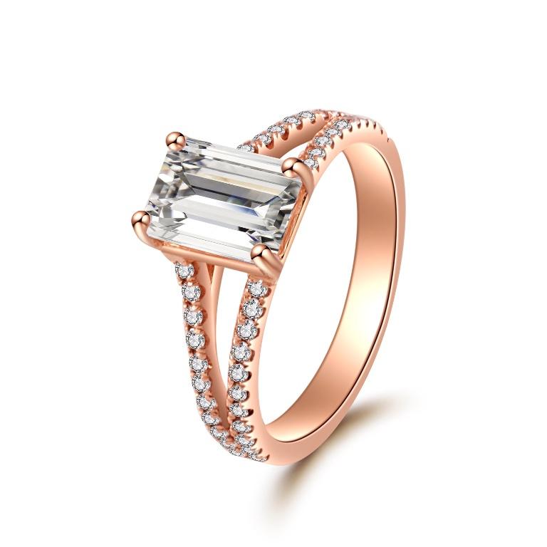 1 40 Ct Rose Gold Emerald Cut Split Shank Diamond Engagement Ring Donna Jewelry Co