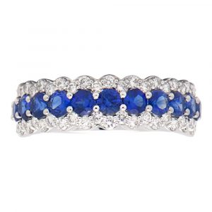 Sapphire and Diamond 3-row anniversary band Ring