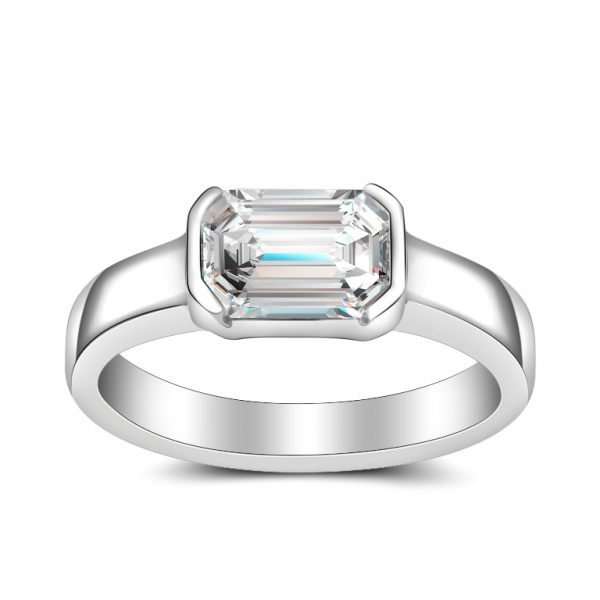 1 24ct Emerald Cut G Vs2 Gia Diamond Bezel Engagement Ring Donna Jewelry Co